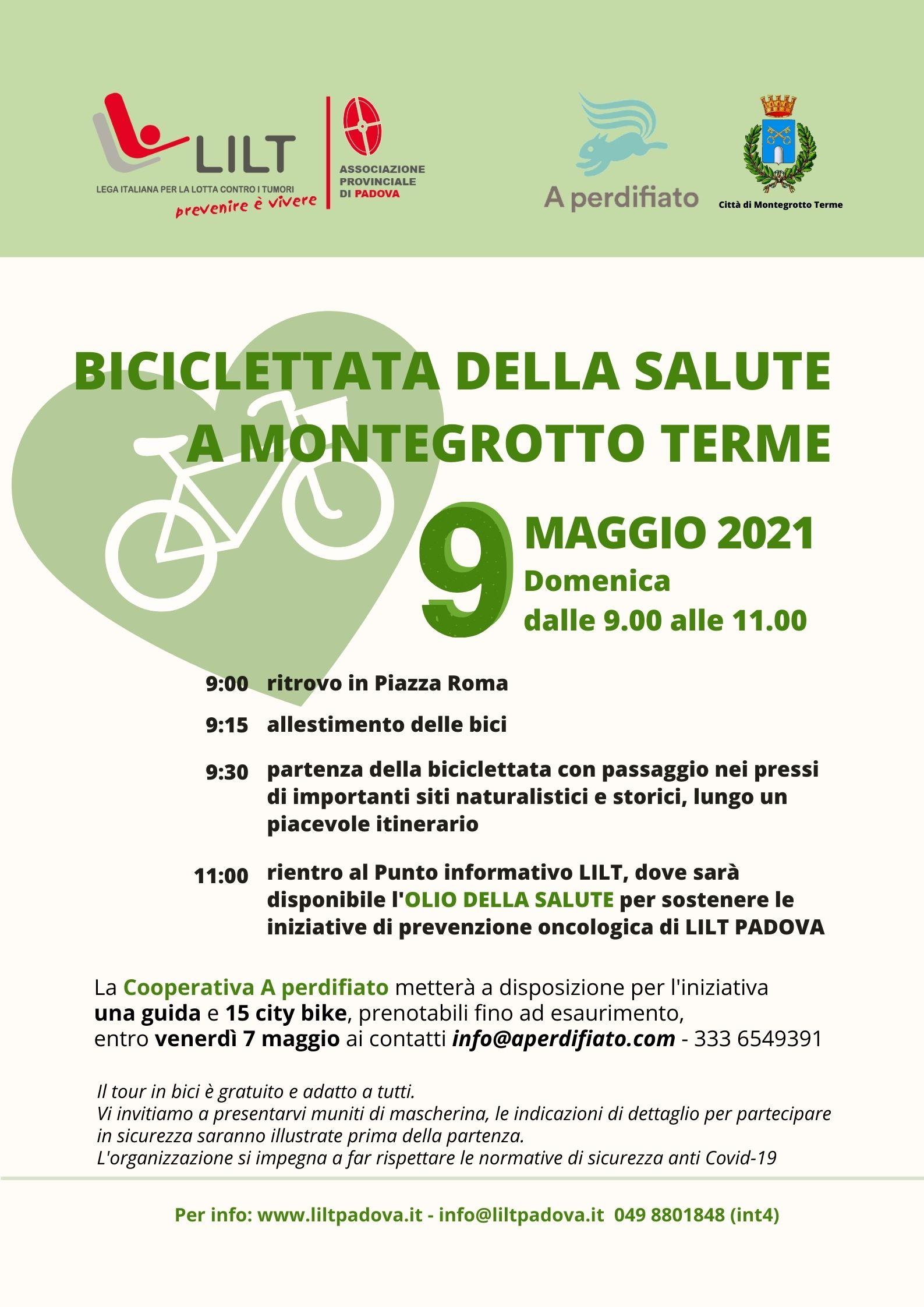 Biciclettata della salute a Montegrotto Terme - Domenica 9 maggio 2021