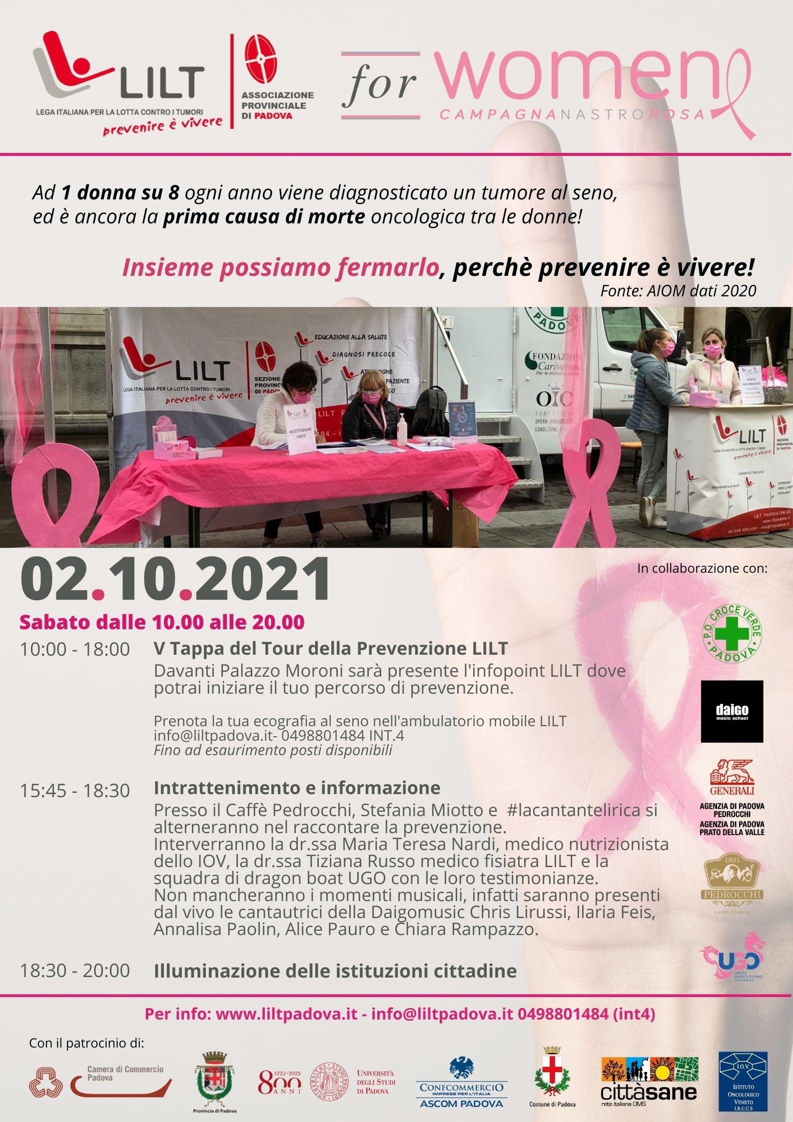 #LILTforWOMEN 2021: Padova e provincia si tingono di rosa per la prevenzione del tumore al seno!